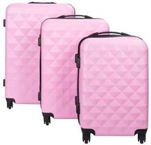 Diamant lyserød kuffertsæt - Sæt med rejsekufferter i 3 størrelser - Eksklusiv hardcase kuffertsæt