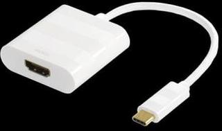 Adapter USB 3.1 till HDMI, Typ C ha - HDMI ho, 4K, UHD, vit