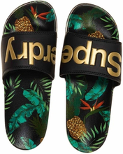 Superdry Beach Slide, Black/Pineapple Aop