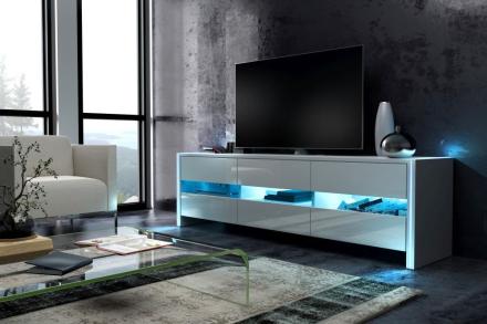 Tv-bord FOX - hvit høyglans - hvit matt