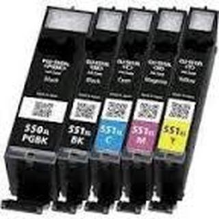 Paket 5st kompatibla patroner till Canon CLI-551XL och PGI-550XL.