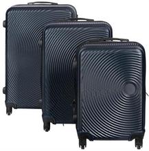 Mørkeblå Cirkel kuffertsæt - Sæt med rejsekufferter i 3 størrelser - Eksklusiv hardcase kuffertsæt