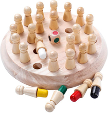 Kids Color Memory Chess Wooden Memory Match Stick Chess Game Jigsaw Puzzle Toy Fun Block Board Game Educational Color Cognitive Ability Toy for Children