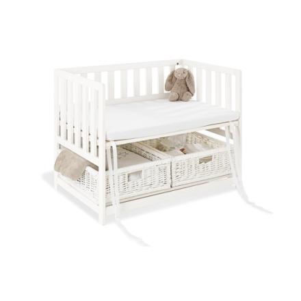 Pinolino - Bedside Crib med Madrass - Janne/Vit