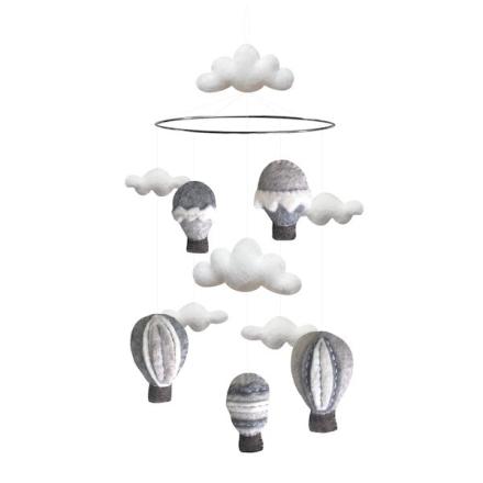 Airballoon mobil med 5 luftballonger, grå