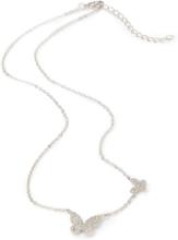 Ketting fijne zilveren schakels en 2 vlinders Van Lua Accessoires zilverkleur
