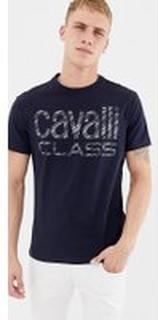Cavalli Class - Marinblå t-shirt med stor logga - Marinblå