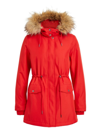VILA Hooded Parka Coat Women Red