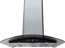 Vägghängd köksfläkt Kristall 60cm / 90cm rostfritt stål+ svart glas - svart - 60 cm