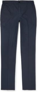 Navy Slim-fit Stretch-cotton Poplin Drawstring Trousers - Navy