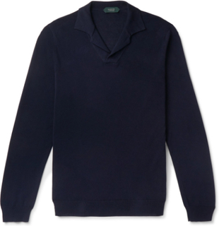 Slim-fit Cotton Polo Shirt - Navy