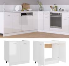 vidaXL Bunnskap til vask høyglans hvit 80x46x81,5 cm sponplate