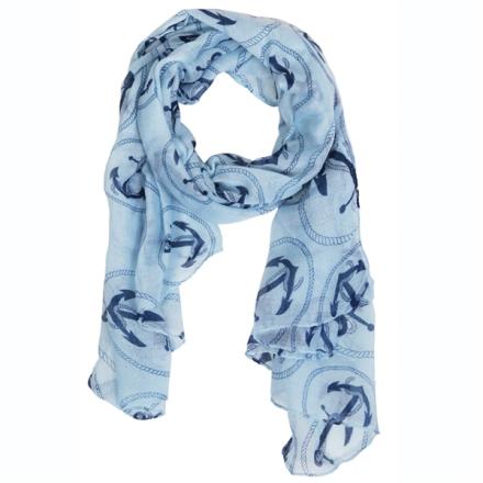 Tørklæde Anker og tov lysblå med blå
