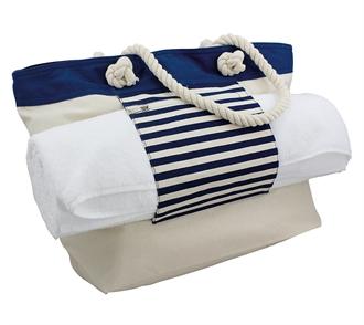 Strandtaske blå/beige