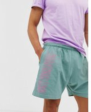 Obey Worldwide Line shorts in green - Atlantic green