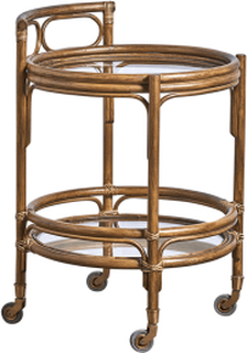 SIKA DESIGN Romeo rullebord - brun rattan, m. hjul, rund (Ø49)