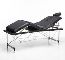 Massagebänk med metallben - 4 zoner - Svart