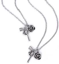 "Guns N""' Roses: Necklace & Bracelet Set/Twin Charms"