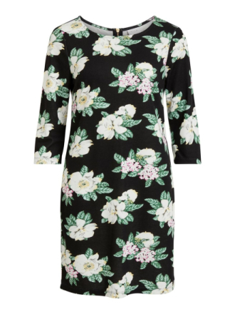 VILA Flower Patterned Dress Women Black