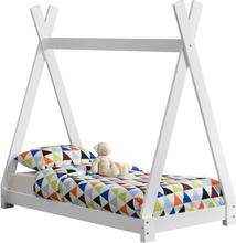 [en.casa]® Lastensänky kuusipuu 148x76x140cm valkoinen, matta