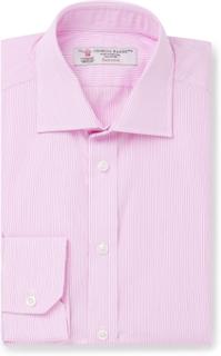 Light-pink Slim-fit Pinstriped Cotton-poplin Shirt - Pink
