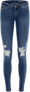 NOISY MAY Nmeve Destroyed Low Waist Skinny Fit Jeans Women Blue