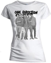 One Direction: Ladies Tee/Group Standing Black & White (Skinny Fit) (Small)