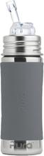 Pura Kiki Trinkflasche 325ml - Strohhalm Aufsatz (inkl. Schutzkappe) - Blank + Grauer Überzug