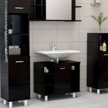 vidaXL badeværelsesskab 60x32x53,5 cm spånplade sort højglans