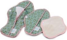 Teby Pink - Damenbinden (Bio-Baumwoll-Velour) - Tag (Midi / Medium) - Floral