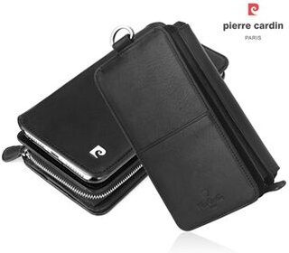PIERRE CARDIN avtagbar 2-i-1 multifunktionell läderplånbok fodral fodral skal för iPhone XS / X, storlek: 6,4 x 3,65 x 1,62 tum