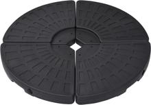 vidaXL Paraollfot fläktformad 4 st svart