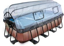 EXIT Stone pool 400x200x100cm med filterpumpe - brun m/dome