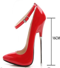 Fashion shoes 2019 women high heels pumps Red Black leather party wedding shoes Stiletto Sexy silver heels 16cm ladies shoes 44