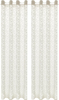 vidaXL Gardiner med warp strikk 2 stk 140x175 cm blader kremhvit