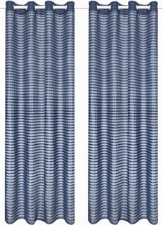 vidaXL tynde gardiner 2 stk. vævet stribet 140 x 175 cm blå