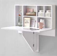FMD Väggmonterat klaffbord med hylla vit 658-002