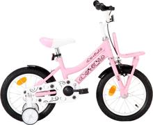 vidaXL Barncykel med frampakethållare 14 tum vit och rosa