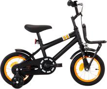 vidaXL Barncykel med frampakethållare 12 tum svart och orange