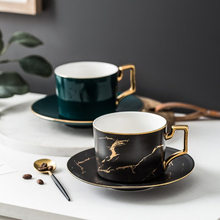 Luxury Gold Inlay Marble Design White Black Green Color Coffee Cup and Saucer Latte Cup Tea cups Drinkware Gift Party