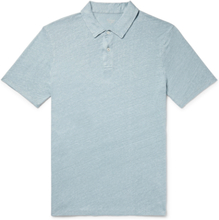 Slub Linen Polo Shirt - Blue