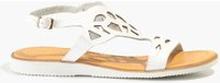 Białe sandały z efektem ażurowym