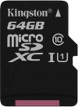Kingston Canvas Select - Flashhukommelseskort (microSDXC til SD adapter inkluderet) - 64 GB - UHS-I U1 / Class10 - microSDXC UHS-I