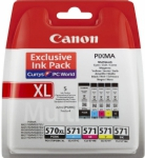 Canon PGI-570XL/CLI-571 PGBK, Original, Farvestofbaseret blæk/pigmentbaseret blæk, Sort, Blå, Magenta, Gul, Canon, Multi pack, Canon Pixma MG5750/MG5