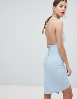 Missguided Peace And Love Low Back Cami Strap Dress-Blue