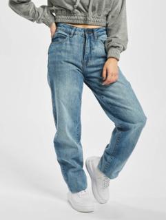 Urban Classics Kvinder Straight Fit Jeans Ladies High Waist i blå, W 26 L 30