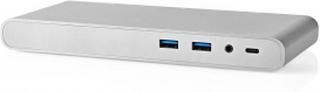 USB-adapter   USB 3.1   USB Type-C™ Hane   1x DisplayPort / 1x HDMI® / 1x RJ45 / 1x VGA / 2x 3.5 mm / 2x USB-C / 4x USB A Hona   0.20 m   Rund   Guldplaterad   Flätad / Nylon   Silver   Kartong med täckt fönster