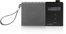 FM-radio   2.1 W   Klocka och alarm   Multifunktionell ratt   Grå/svart