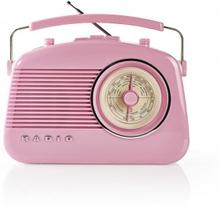 FM-radio | Bordsdesign | AM / FM | Batteridriven / Strömadapter | Analog | 4.5 W | Hörlursuttag | Bärhandtag | Rosa