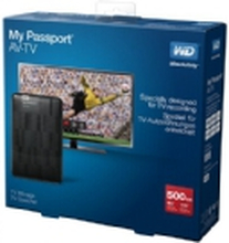 WD My Passport AV-TV WDBHDK5000ABK - Harddisk - 500 GB - ekstern (bærbar) - USB 3.0 - sort